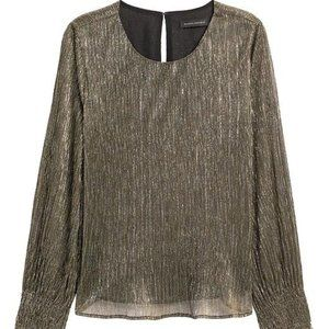 Banana Republic Metallic smocked sleeve blouse
